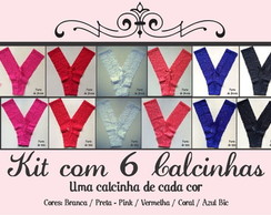 Kit com 6 Calcinhas de renda sem costura