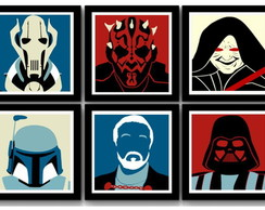 Kit 6 Quadros Star Wars Minimalista