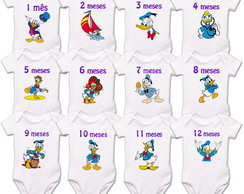 Kit Mêsversario Pato Donald Disney Algodão Body