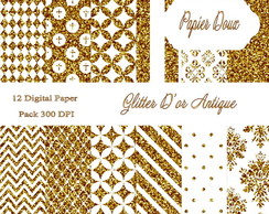 Papéis Digitais - Glitter D'or Antique