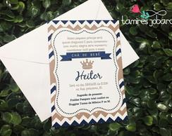 Convite Cha De Bebe Principe Arthur Coroa Azul Marinho Branco Elo7
