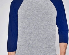 CAMISETA RAGLAN LISA - MESCLA E ROYAL