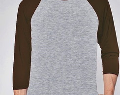 CAMISETA RAGLAN LISA - MESCLA MARRON