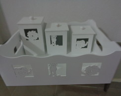 KIT HIGIENE BEBE SAFARI 3D MDF BRANCO