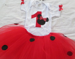 Conjunto Body + Saia + tiara Minnie