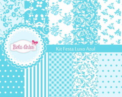 Kit Papel Digital Festa Luxo Azul