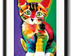 Quadro Gato Pop Art com Paspatur
