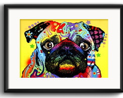 Quadro Pug Pop Art com Paspatur