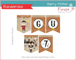 Kit Digital Bandeirolas Harry Potter