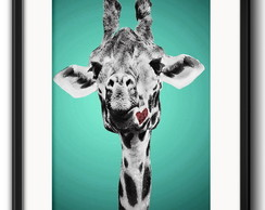 Quadro Girafa Pop Art com Paspatur