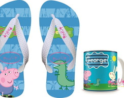 kit Caneca + Chinelo George Peppa Pig