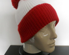 ... Gorro de Lã Vermelho e Branco 3f32c309d6c