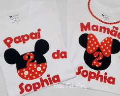 kit Camisetas papai e mamãe Minnie