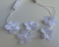 Head band flowers branco