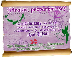 Arte - Convite virtual Peter Pan Pirata