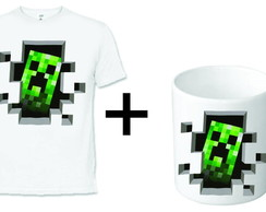 Kit Caneca Plastica + Camiseta Minecraft
