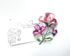 Broche Flor Metalizada Strass