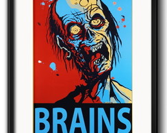 Quadro Brains Zumbi Pop Art com Paspatur