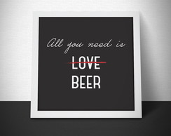 Quadrinho All you need beer - 20x20cm