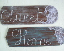 Placas Decorativas de Madeira Sweet Home