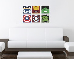 Kit 6 Quadros Decorativos - Vingadores