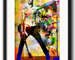 Quadro Adam Levine Pop Art com Paspatur