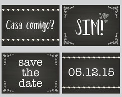 Kit Placas Casamento Save The Date Lousa