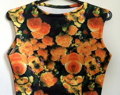 Top cropped floreado laranja