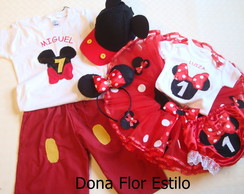 Conjunto tutu minnie e mickey