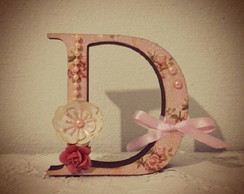 Letra MDF Decorada Scrapbook