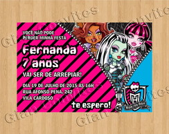 Convite Infantil - Tema Monster High
