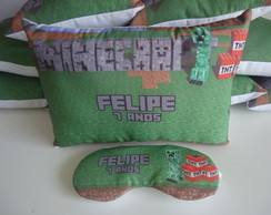 KIT ALMOFADA 28x18+MASCARA MINECRAFT