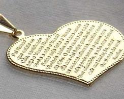 1fb2d4e9accb0 Colar Medalha com a Oração do Pai Nosso Folheado a Ouro   Elo7