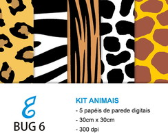 Kit papel digital animais