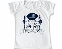 Baby Look Infantil Gato Chapeu
