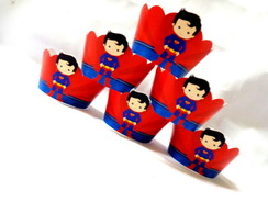 Wrappers Mini Cup Cake Super Homem