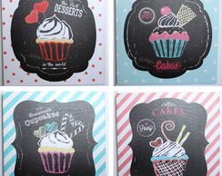 Kit 4 Quadros Decorativo Cupcake vintage