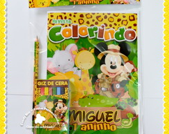 Kit Colorir + lápis Mickey Safari