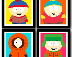 Kit 4 Quadros South Park Pop Art