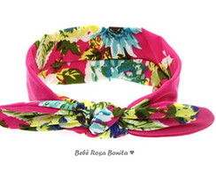 Turbante floral fundo pink