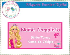 Etiqueta Escolar Digital - Barbie