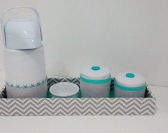 Kit Higiene chevron cinza e tiffany