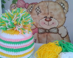 Touca colorida com pom pom - Newborn