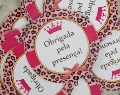 Tags ou Toppers Oncinha Rosa