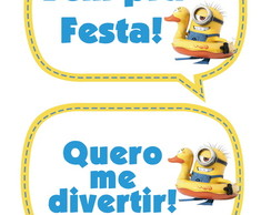 Kit 30 Placas Divertidas Tema Minions