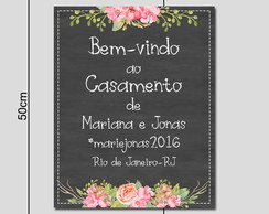 Placa Tipo Chalkboard Floral rosa