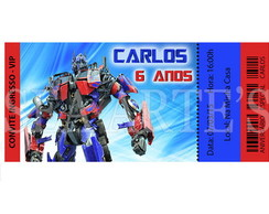 Arte Convite Digital - Transformers