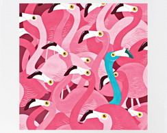 QUADRO DECOR AGUARELA - FLAMINGOS