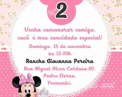 Arte digital Convite Minnie Rosa