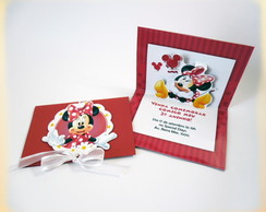 Convite Minnie Pop Up -com laço